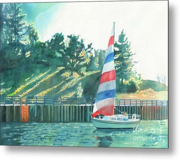 Sailing Back To Port, Sail Boat Paintings, Sail Boat Prints, Sailing, Pentwater, Michigan, Lakes Metal Print