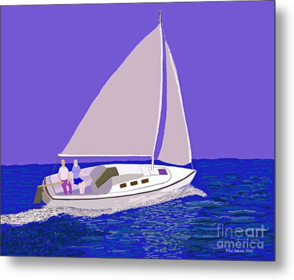 Sailing Blue Ocean Metal Print