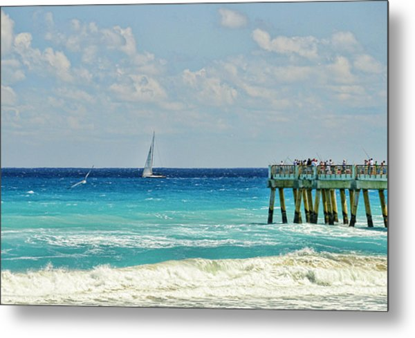 Sailing By The Pier Metal Print