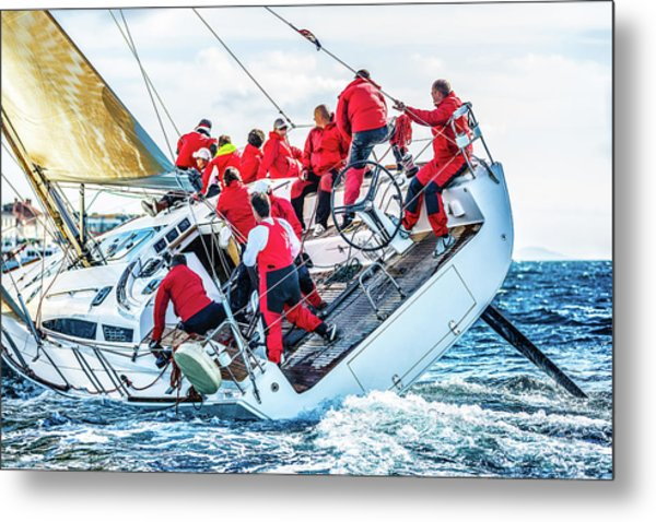 Sailing Crew On Sailboat During Regatta Metal Print by Mbbirdy