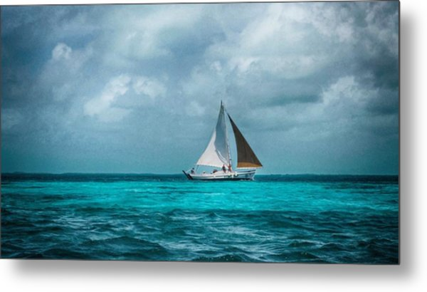 Sailing In Blue Belize Metal Print