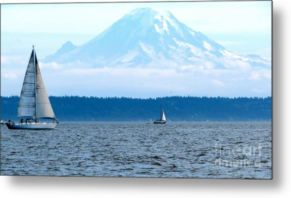 Sailing In Mt. Rainier's Shadow Metal Print