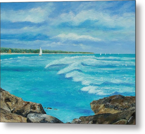 Sailing In The Bay Metal Print
