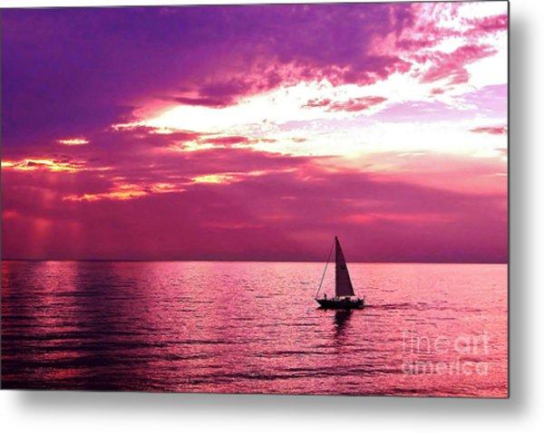 Sailing Into The Setting Sun Metal Print