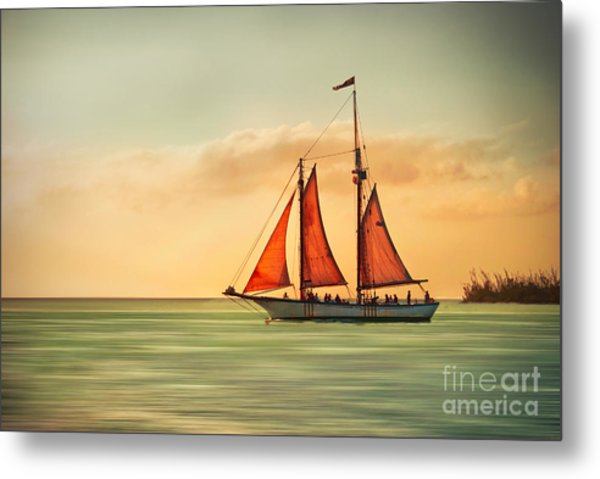 Sailing Into The Sun Metal Print