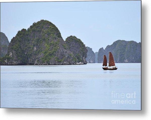 Sailing Junk Boats In Halong Bay Metal Print by Sami Sarkis