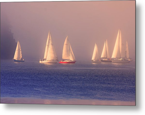 Sailing On A Misty Ocean Metal Print