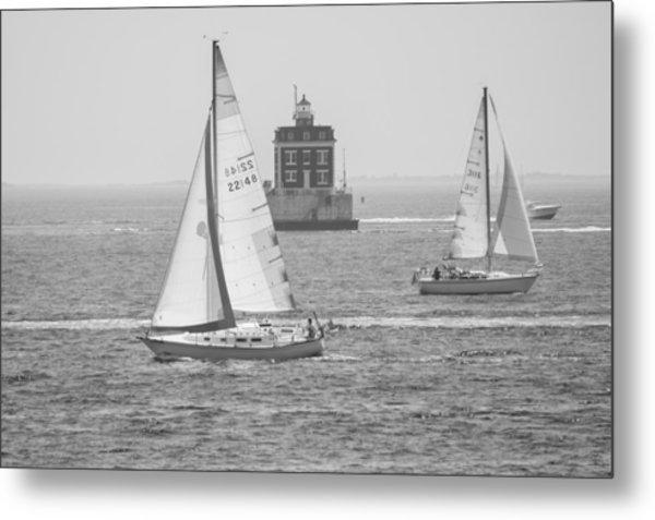 Sailing Past Ledge Light - Black And White Metal Print
