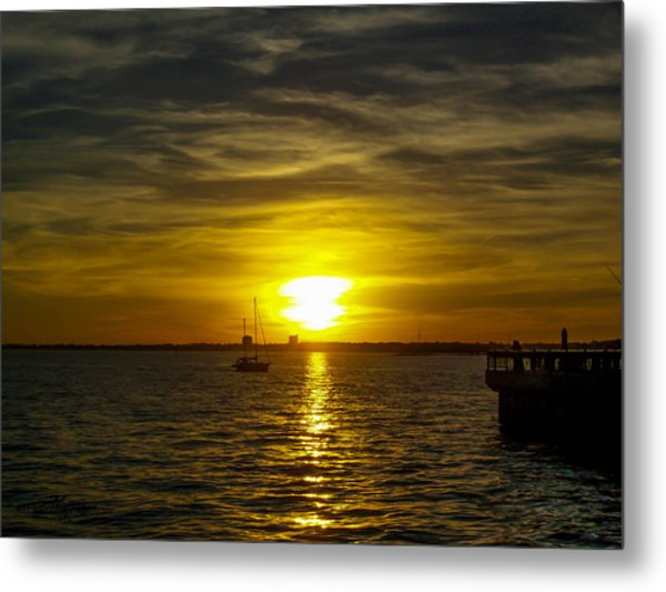 Sailing The Sunset Metal Print
