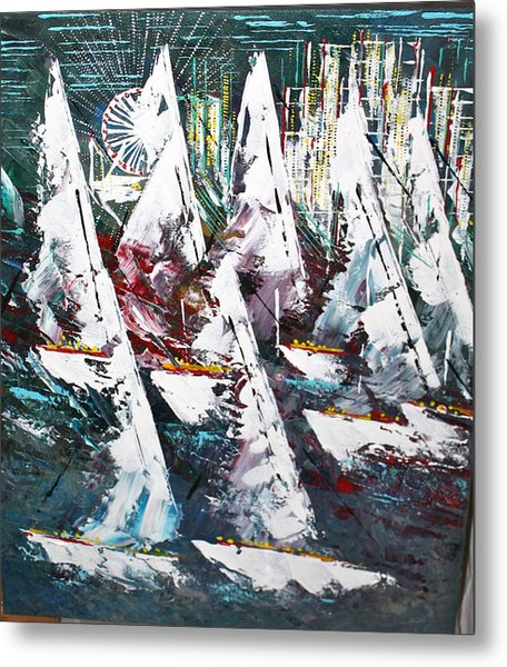 Sailing With Friends - Sold Metal Print