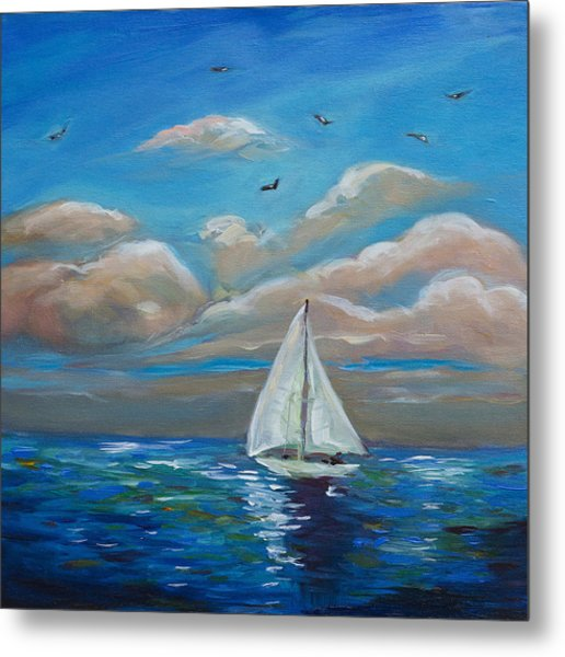 Sailing With My Dad Metal Print