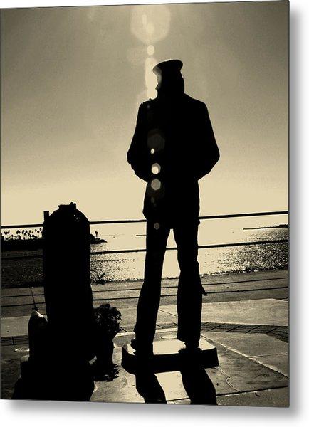Sailor Statue Over Long Beach Harbor Metal Print