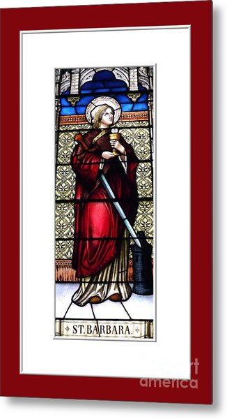 Metal Print featuring the photograph Saint Barbara Stained Glass Window by Rose Santuci-Sofranko