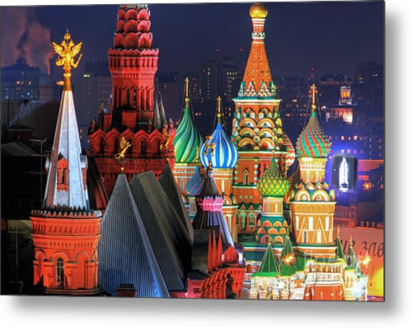 Saint Basils Cathedral On Red Square In Moscow Metal Print