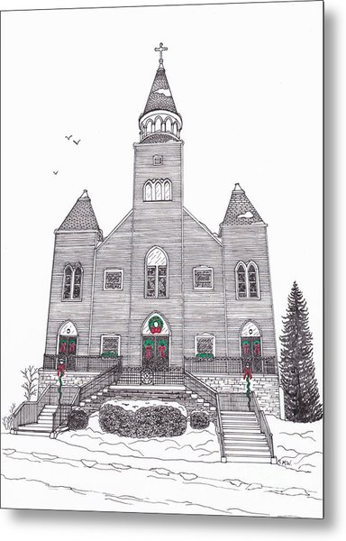 Saint Bridget's Church At Christmas Metal Print