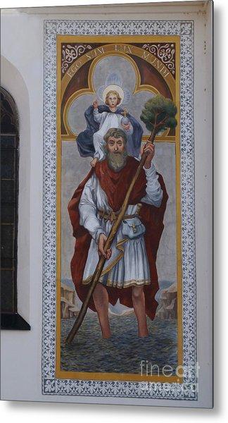 Saint Christopher Mural - Kranj - Slovenia Metal Print by Phil Banks