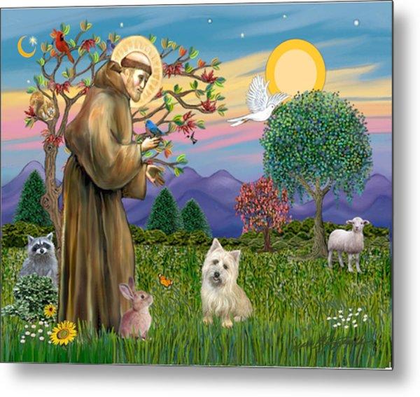 Saint Francis Blesses A Cairn Terrier Metal Print