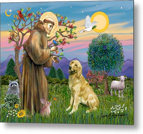 Saint Francis Blesses A Golden Retriever Metal Print