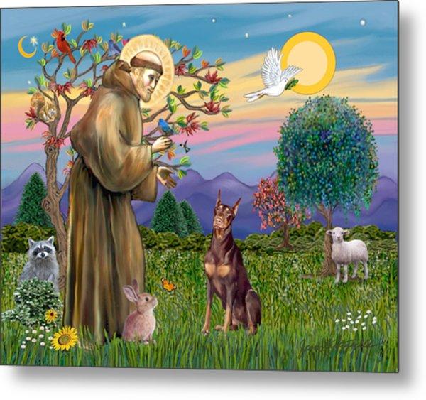 Saint Francis Blesses A Red Doberman Metal Print