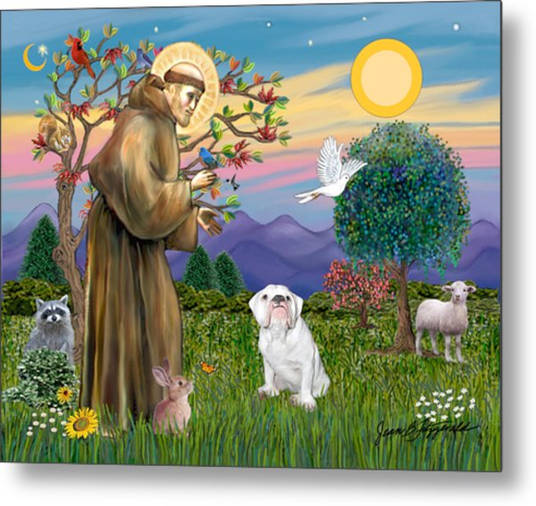 Saint Francis Blesses An English Bulldog Metal Print