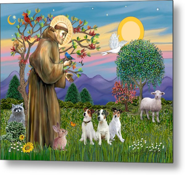 Saint Francis Blesses Three Jack Russell Terriers Metal Print