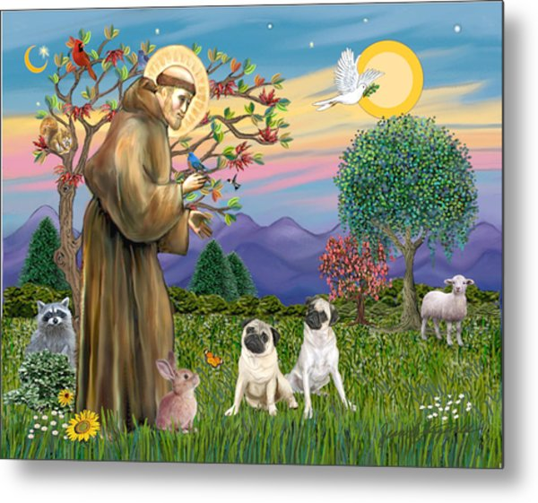 Saint Francis Blesses Two Fawn Pugs Metal Print