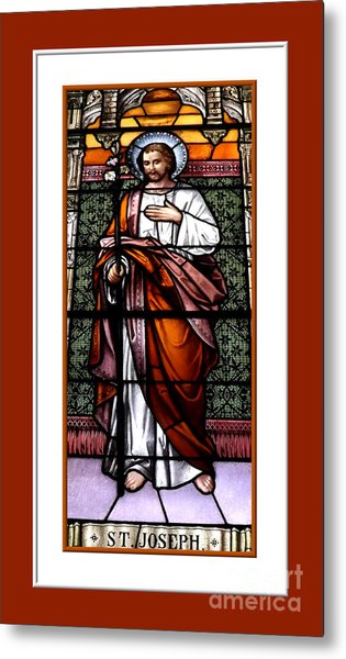 Saint Joseph  Stained Glass Window Metal Print