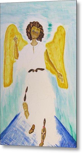 Saint Michael The Archangel Miracle Painting Metal Print by Debbie Nester
