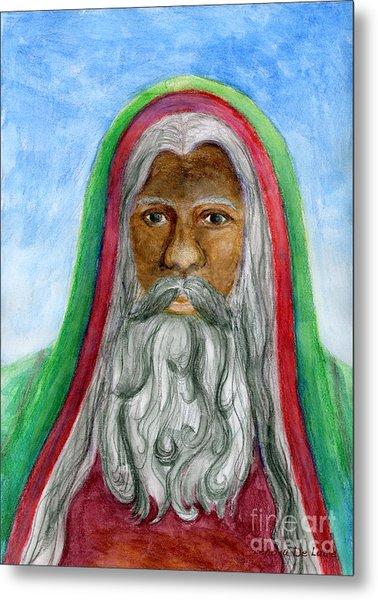 Saint Nicholas Black Old World Santa  Metal Print