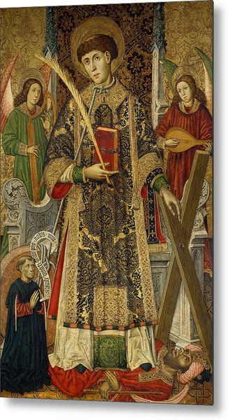 Saint Vincent  Deacon And Martyr With A Donor Metal Print