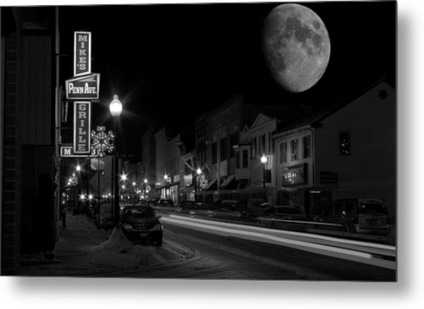 Salem Ohio Winter Moon Metal Print