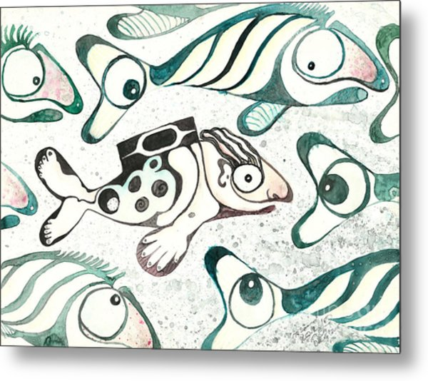 Salmon Boy The Swimmer Metal Print