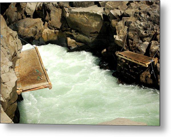 Salmon Fishing Platforms Metal Print by Mamie Gunning