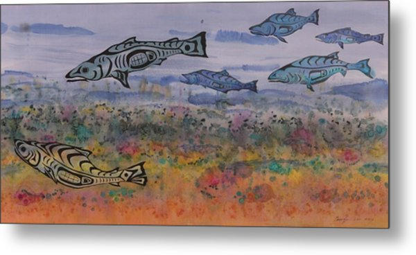 Salmon In The Stream Metal Print