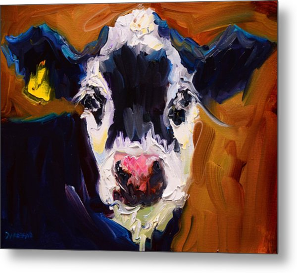 Salt And Pepper Cow 2 Metal Print