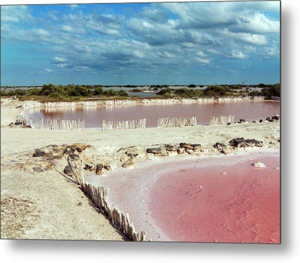 Salt Evaporation Ponds Metal Print