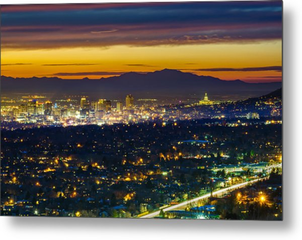 Salt Lake City At Dusk Metal Print