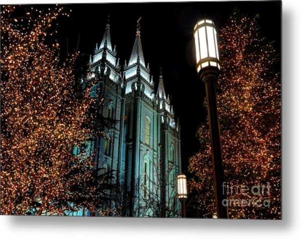Salt Lake City Mormon Temple Christmas Lights Metal Print