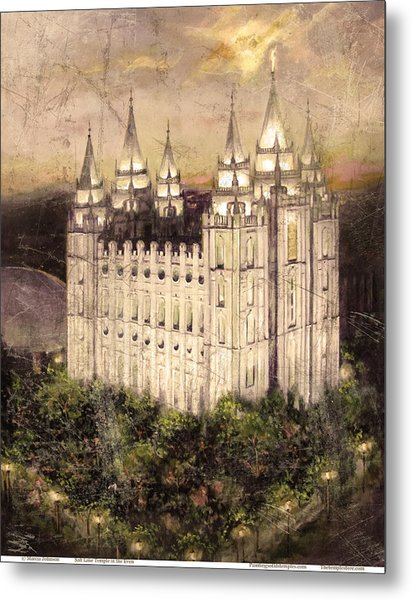 Salt Lake Temple In The Evening  Antique Pink Metal Print