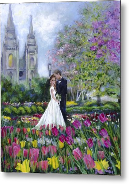 Salt Lake Temple-married In Spring Metal Print