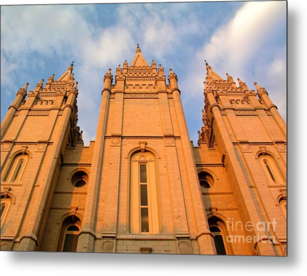 Salt Lake Temple Sunset Closeup Metal Print by Jenny Wood