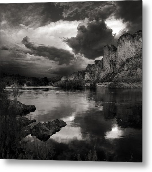 Salt River Stormy Black And White Metal Print