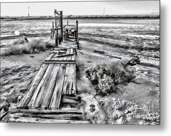 Salton Sea Dock Under Renovation By Diana Sainz Metal Print