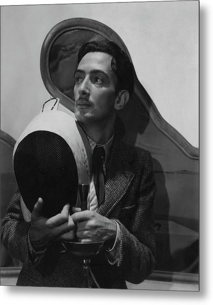 Salvador Dali Holding Fencing Equipment Metal Print