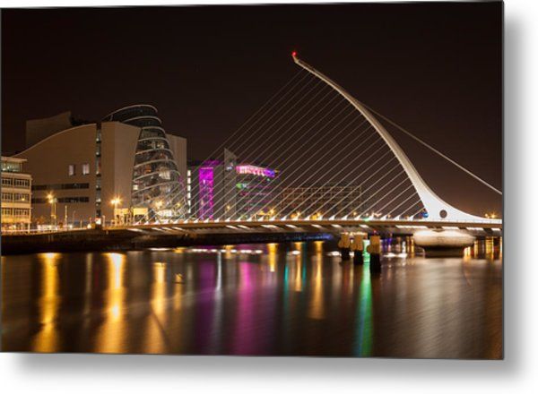 Samuel Beckett Bridge In Dublin City Metal Print