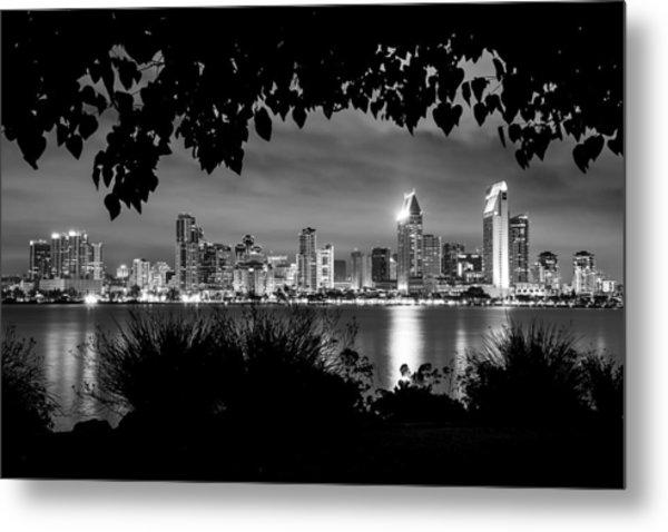 San Diego Skyline Framed 2 Black And White Metal Print
