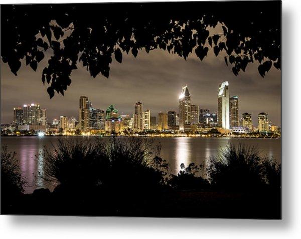 San Diego Skyline Framed 2 Metal Print