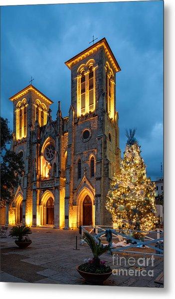 San Fernando Cathedral And Christmas Tree Main Plaza - San Antonio Texas Metal Print