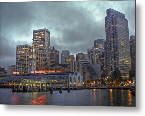 San Francisco Port All Lit Up Metal Print