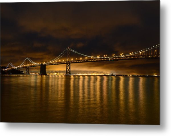 San Francisco - Bay Bridge At Night Metal Print